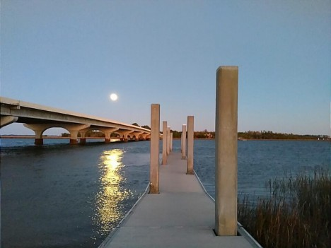 Moon Rising on the Chechessee River Beaufort SC Photo Debbie Ericson