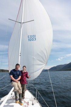 My wife and I sailing our J24 in Alaska
