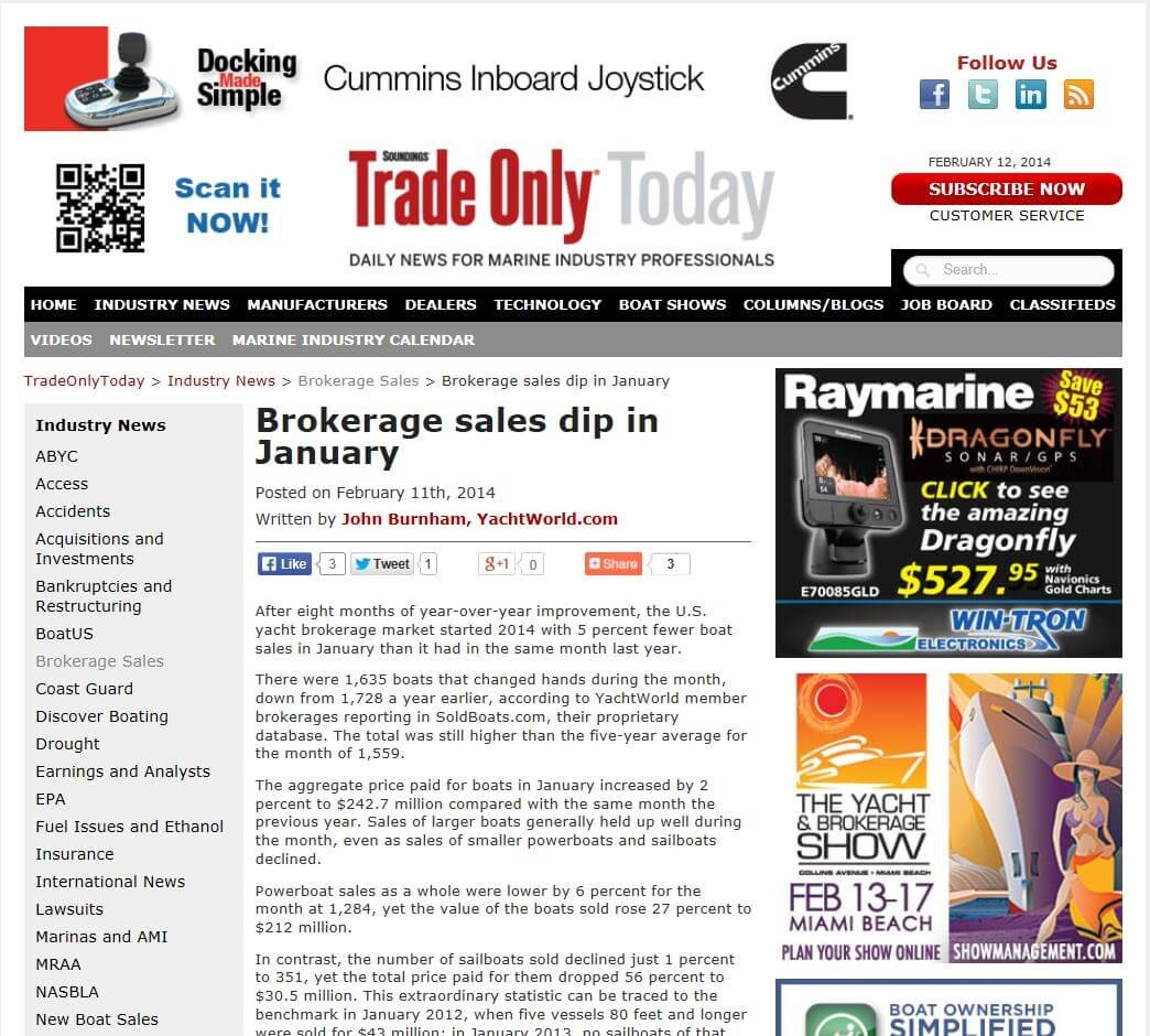 Brokerage Sales Dip In January - For Everyone Else