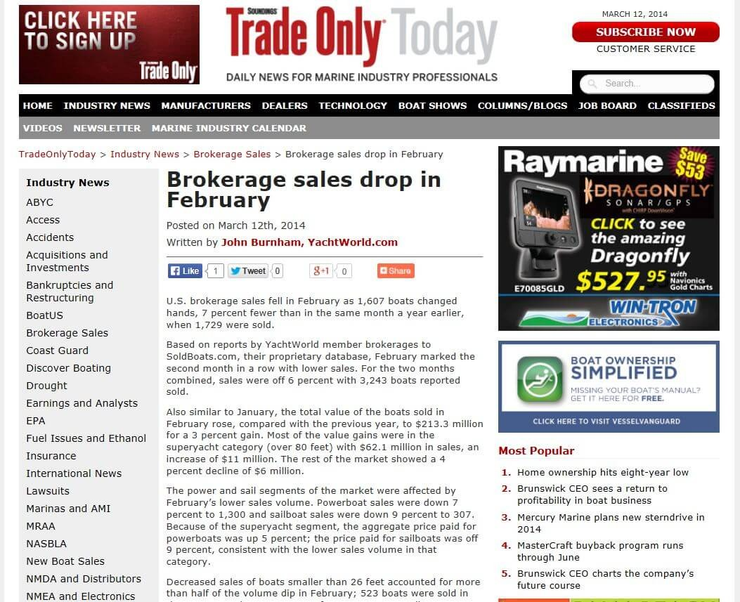 Brokerage Industry Slumps Again in February 2014.  Really?
