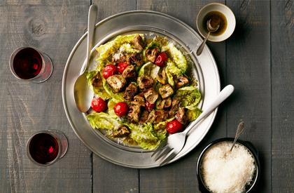 Photo de la recette de Brochettes de porc en salade italienne