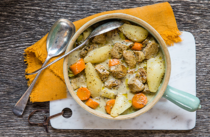 Photo de la recette de Mijoté de porc à la moutarde et aux poires