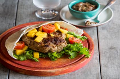 Photo de la recette de Burgers et salsa mangue et tomate