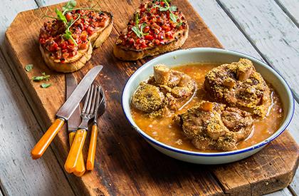Photo de la recette de Osso buco de porc en croûte de maïs