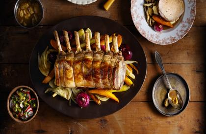Photo de la recette de Carré de porc du Québec au vin blanc et aux raisins par Stefano Faita