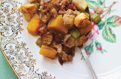 Photo de la recette de Farce au porc, aux pommes et à la courge