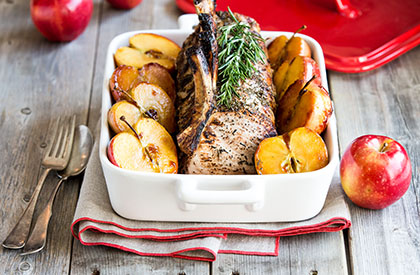 Photo de la recette de Carré de porc aux pommes caramélisées à l'érable