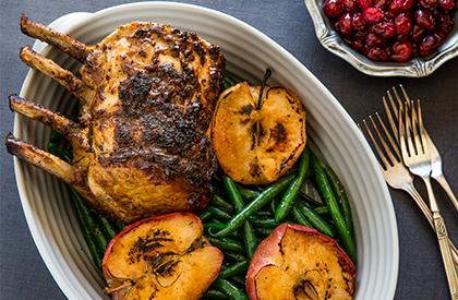 Photo de la recette de Carré de porc aux canneberges et pommes