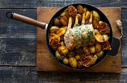 Photo de la recette de Carré de porc aux herbes et à la pancetta