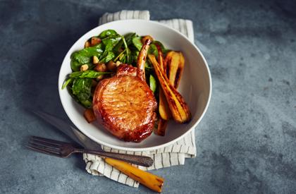 Photo de la recette de Côtelettes de porc aux pommes et à l'érable