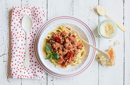 Photo de la recette de Linguines sauce au basilic et tomates séchées