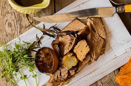 Photo de la recette de Rôti de palette de porc du Québec aux câpres et citron