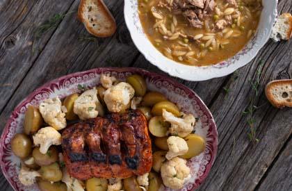 Photo de la recette de Soupe à l'échine de porc + Carré au cajun