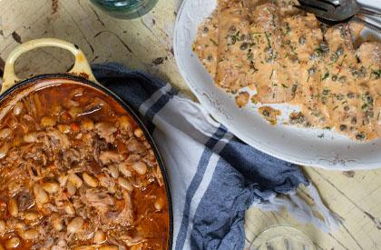 Photo de la recette de Escalopes de porc à l'italienne + Épaule braisée aux haricots
