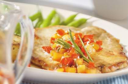 Photo de la recette de Escalopes de porc, sauce aux pommes