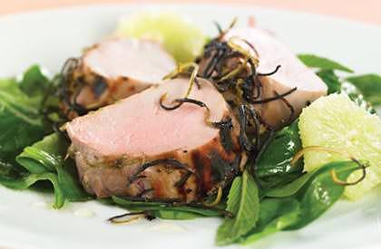 Photo de la recette de Filets de porc au miel, limette et menthe