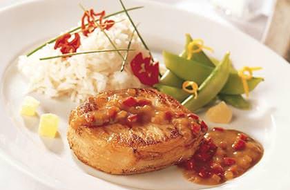 Photo de la recette de Médaillons de porc à l'ananas confit