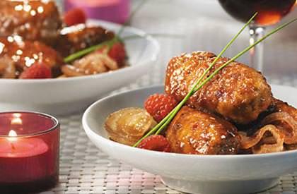Photo de la recette de Rouleaux de porc, sauce aux framboises