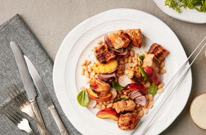 Photo de la recette de Brochettes de porc épicées à la nectarine