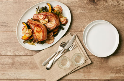 Photo de la recette de Côtelettes de porc à l'aigre-doux de pomme