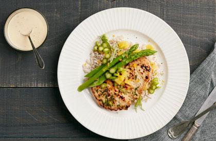 Photo de la recette de Escalopes de porc à la crème d'estragon et d'orange