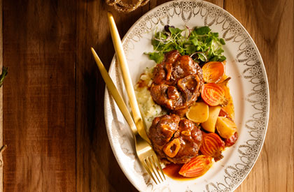 Photo de la recette de Osso buco de porc du Québec aux effluves de Noël de Jonathan Garnier