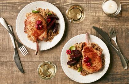 Photo de la recette de Côte de porc Nagano aux framboises et balsamique