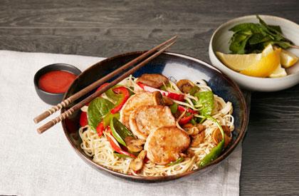 Photo de la recette de Sauté au porc et aux épinards