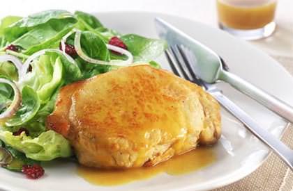 Photo de la recette de Salade tiède de porc au cari et à l'orange