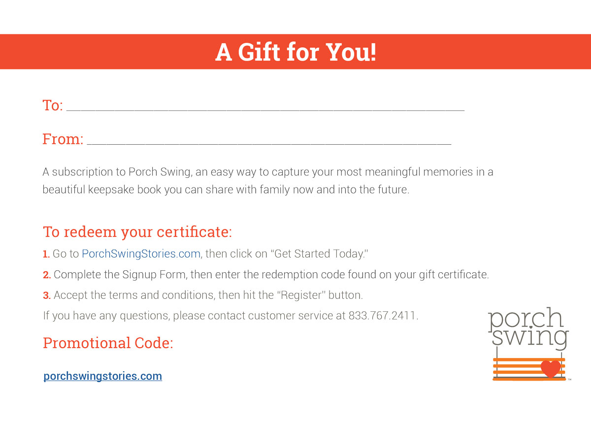 Porch Swing Gift Certificate