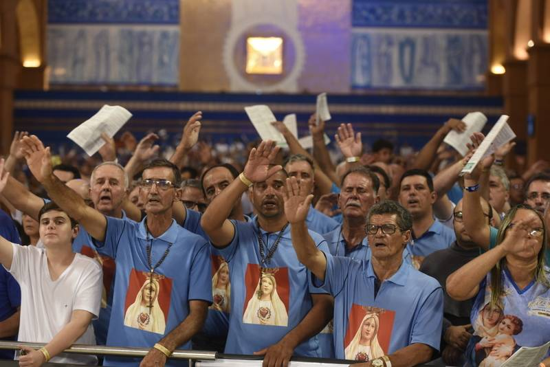 Santa missa de abertura da programação da Romaria do Terço dos Homens no Santuário.