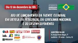 Dia 12, na ABI, criação da Frente Estadual em Defesa da Petrobras, da Soberania e do Desenvolvimento