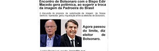 """Falso: Universal quer sanção de lei que extingue título de """"Padroeira do Brasil"""""""