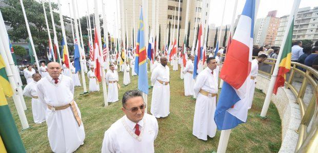 As bandeiras foram hasteadas por levitas voluntários do Templo de Salomão