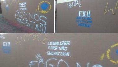 Em ataque de ódio, manifestantes picham duas Igrejas Universal na Bahia