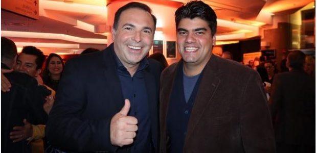 Os apresentadores da Record TV, Reinaldo Gotino e André Azeredo