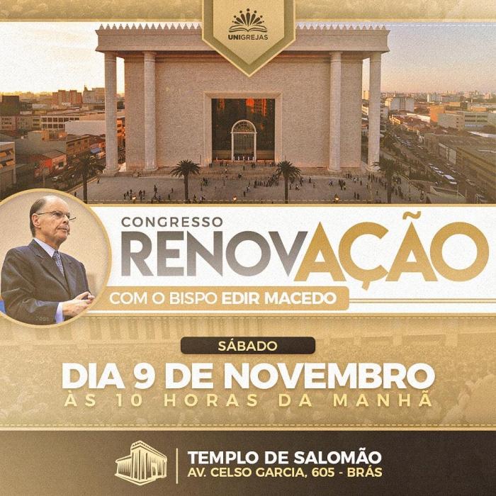9 de novembro: Congresso Renovação, em São Paulo