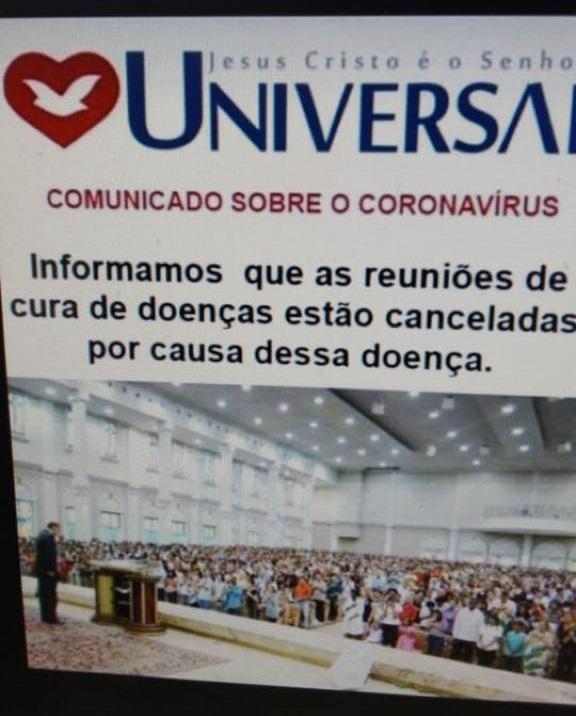 Falso: Imagem de comunicado da Universal informa que reuniões estão canceladas