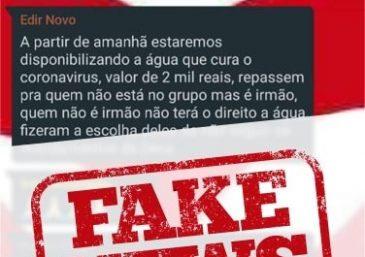 """Falso: Bispo Macedo anuncia """"água que cura coronavírus"""" em grupo do WhatsApp"""