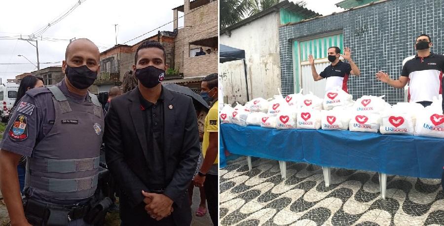 Polícia Militar em parceria com grupos da Universal entregam 1,5 tonelada de alimentos na Praia Grande