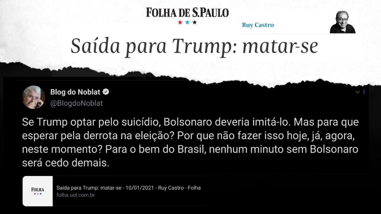 Jornalistas desejam a morte dos Presidentes Trump e Bolsonaro