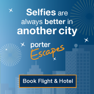 Selfies are always better in another city. Porter Escapes. Book Flight & Hotel.