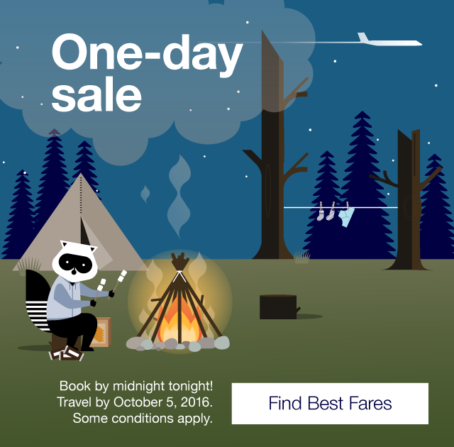 S more savings! Book by midnight tonight. Travel by October 5, 2016. Find Best Fares.