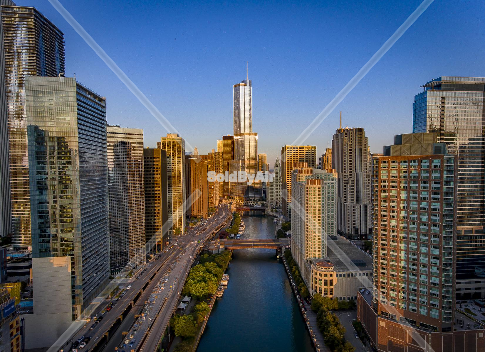 Drone Photo of Aerial Skyscrapers in Chicago Illinois