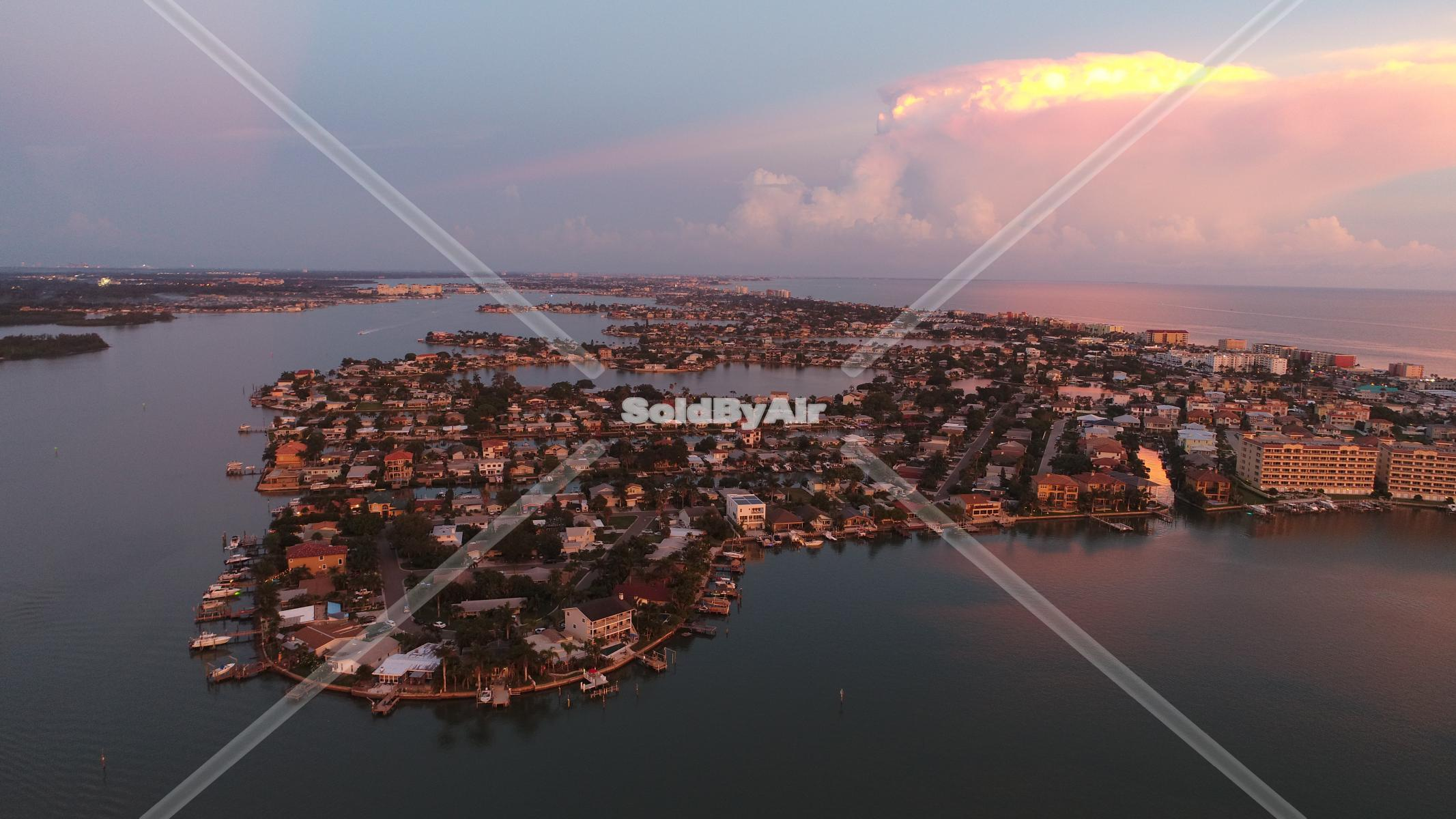 Drone Photo of Boca Ciega Bay and Gulf of Mexico looking south in Redington Shores Florida
