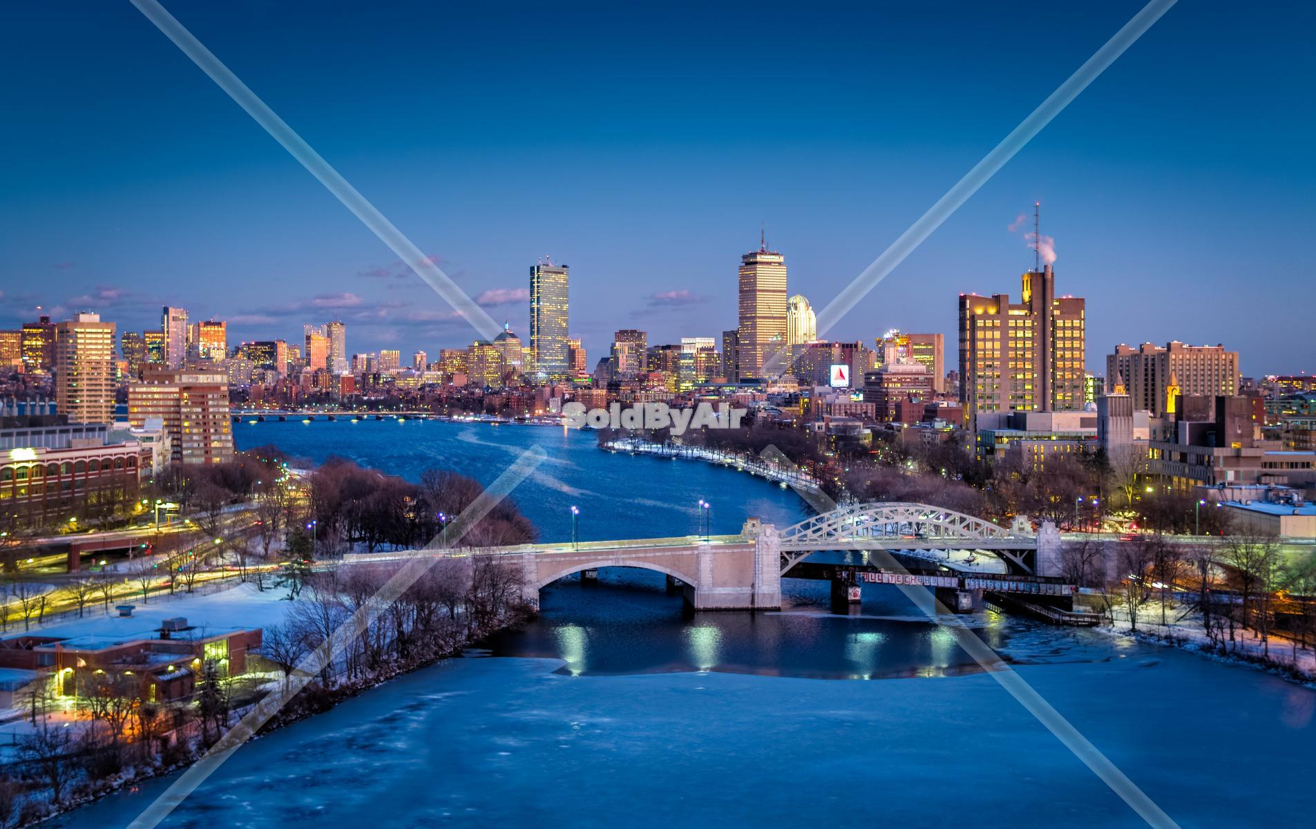 Drone Photo of Boston Skyline at dusk in Boston Massachusetts