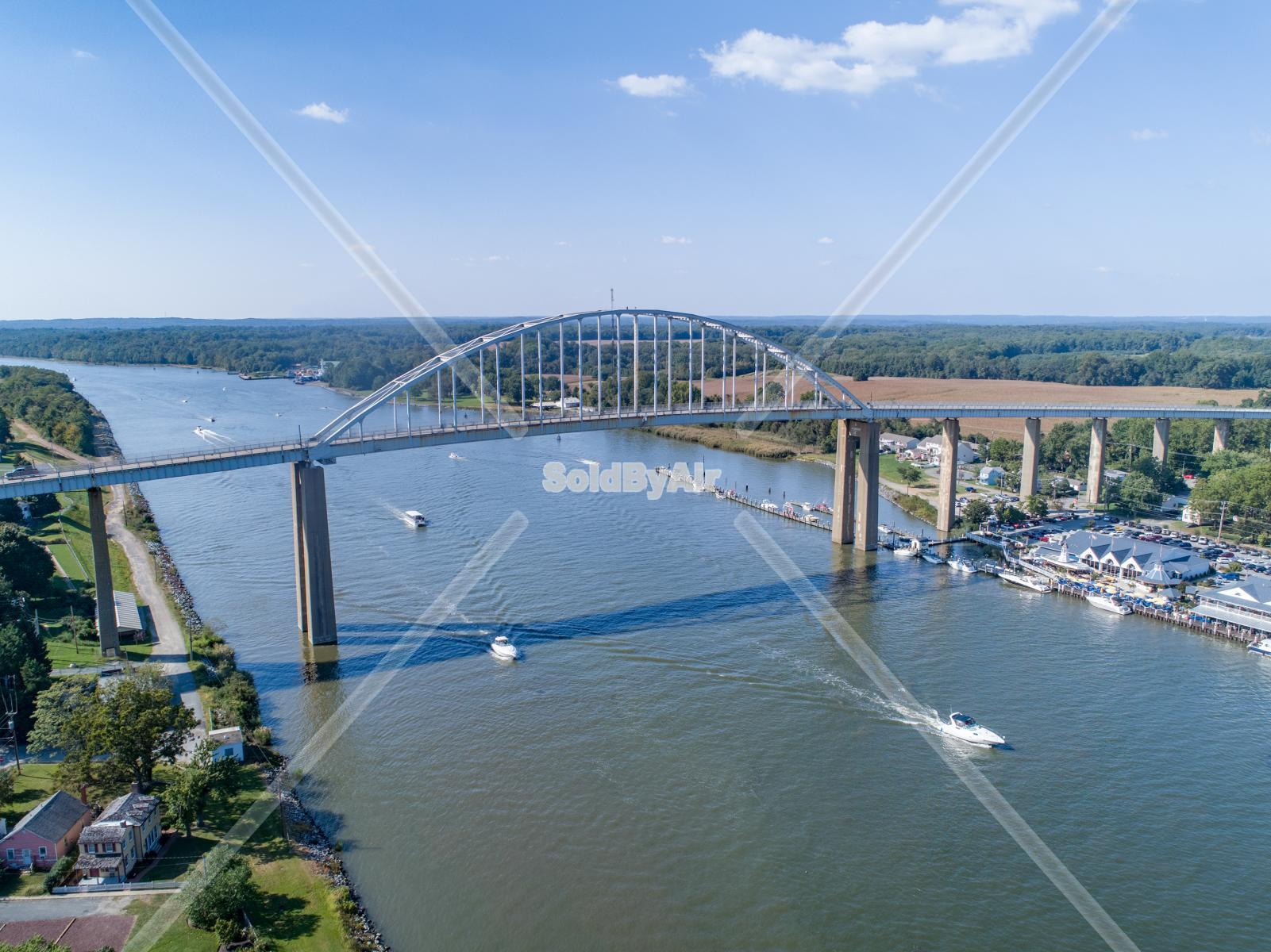Drone Photo of Bridge in Chesapeake City Maryland