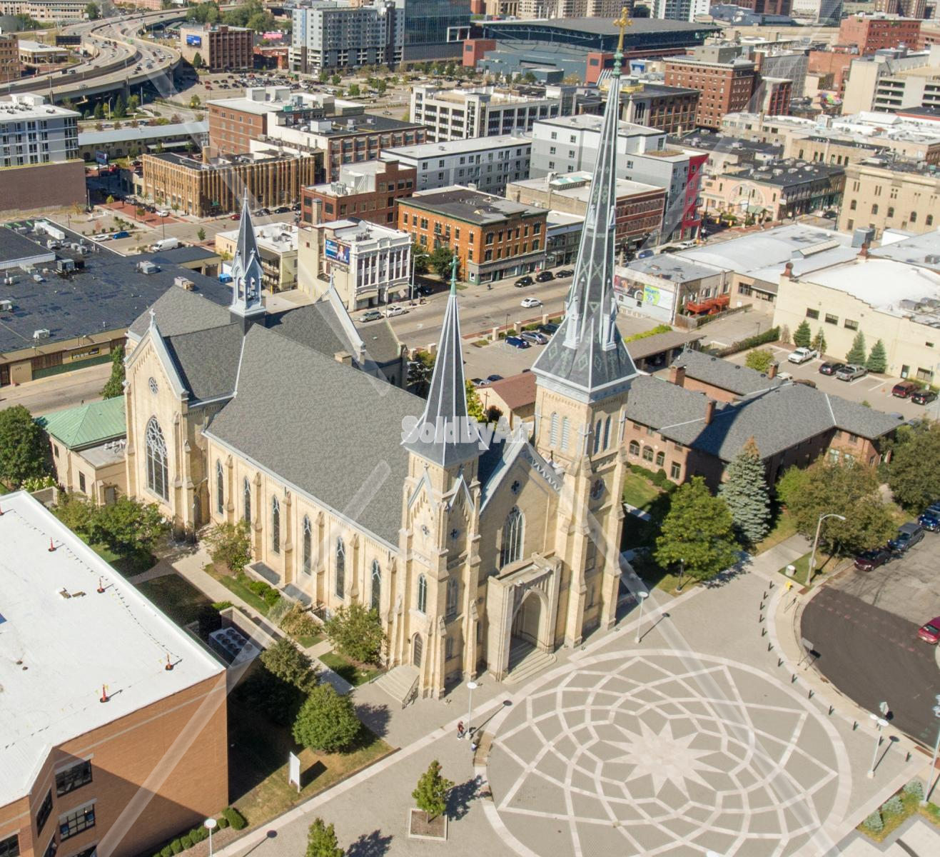 Drone Photo of Cathedral of Saint Andrew in Grand Rapids Michigan