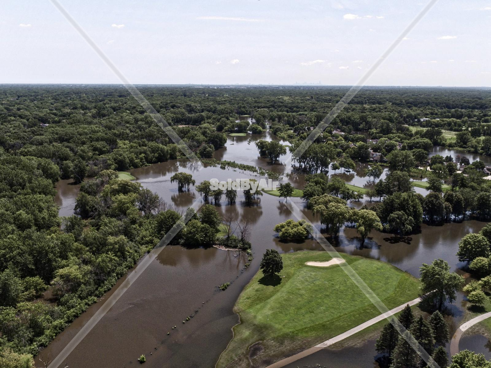 Drone Photo of Des Plaines River flooding Summer 2017 in Lincolnshire Illinois