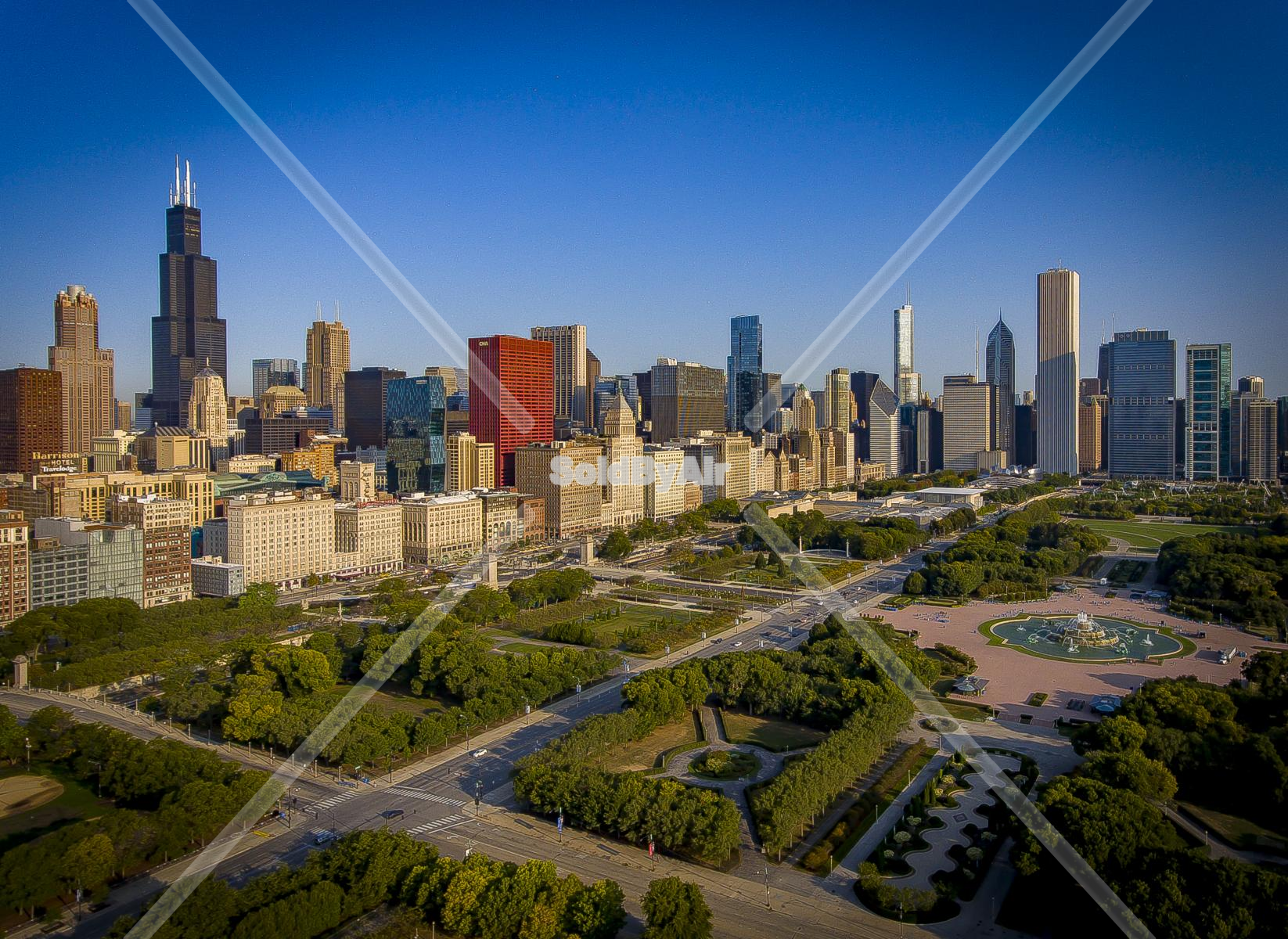 Drone Photo of Downtown area in Chicago Illinois